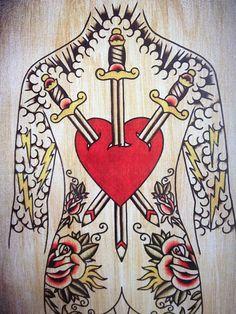 Three of Swords Tarot Inspired Tattoo Style by HeartbreakerTattoo