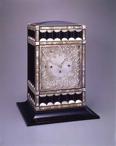 Koloman Moser designed this clock for Margaret Stonborough-Wittgenstein and Jerome Stonborough in 1905. It was made at the Wiener Werkstätte of ebonized wood, silver and mother of pearl. Margaret Stonborough-Wittgenstein is the subject of a portrait by Gustav Klimt. Hida Takayama Museum of Art, Japan