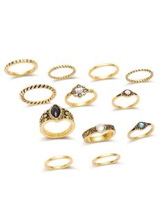 7500d767bb Product name: Antique Silver Engraved Ring Set at SHEIN, Category: Rings