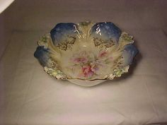 """GORGEOUS R.S. PRUSSIA MOLD 29 PINK YELLOW WHITE LILIES GOLD 10 5/8"""" BOWL  -  NR #RSPrussia"""