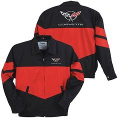 C5 Corvette Black/Red Color Block Twill Jacket