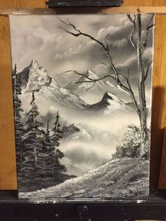 Bob Ross Style Original Landscape Oil Painting by CustomNatureLLC: Landscape Pencil Drawings, Landscape Sketch, Landscape Art, Landscape Paintings, Art Drawings, Oil Paintings, Oil Painting Pictures, Pictures To Paint, Black And White Painting