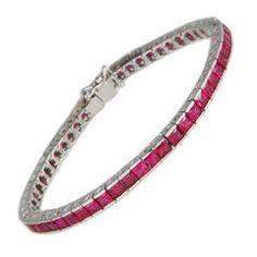 Ruby Straight Line Gold Bracelet