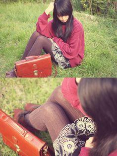 Vintage Jumper, Forever 21 Skirt, Columbine Tights, Vintage Bag, Vintage Shoes
