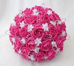 ARTIFICIAL WEDDING FLOWERS - BRIDES POSY BOUQUET IN HOT PINK AND WHITE
