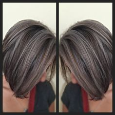 Icy blonde highlights chocolate brown base color - All For Hair Color Trending Mom Hairstyles, Summer Hairstyles, Dark Grey Hair Color, Gray Hair Highlights, Curly Hair Styles, Natural Hair Styles, Transition To Gray Hair, Silky Hair, Hair Inspiration
