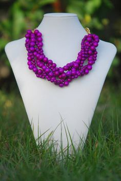 Purple Statement Necklace Spring Necklace by TheEnchantingOwl, $21.97