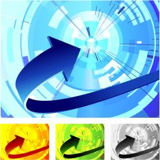 Abstract graphic of different colour curved arrows vector art illustration