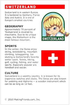 MakingFriends Facts about Switzerland Printable Thinking Day fact card for our passports. Perfect if you chose Switzerland for your Girl Scout Thinking Day or International Night celebration. Girl Scout Swap, Daisy Girl Scouts, Girl Scout Troop, Around The World Theme, Countries Around The World, Teaching Geography, World Geography, Switzerland Summer, Continents And Countries