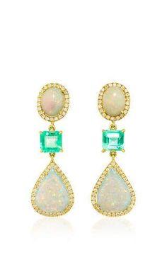 18K Yellow Gold, White Opal Emerald Earrings by Nina Runsdorf for Preorder on Moda Operandi