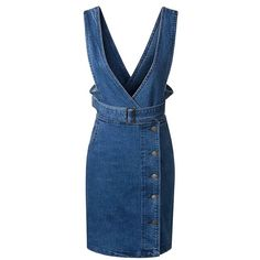 Casual Denim Overall Dress With Belt ($30) ❤ liked on Polyvore featuring dresses, deep blue, belt dress, dark blue dress, blue dress with belt, embellished dress and blue embellished dress