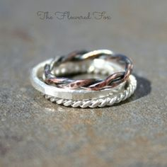 Stacking Ring Set: Sterling Silver Hammered Ring, Copper Rope Ring, Sterling Silver Rope Ring - $52.00 #9thandelm