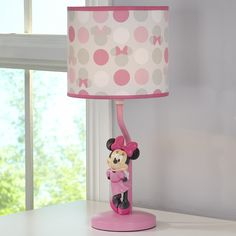 Disney Minnie Mouse Polka Dots Lamp Base and Shade Light Pink/White/Grey/Bright Raspberry -- Find out more about the great product at the image link. (This is an affiliate link) Shades Of White, Light Shades, Drum Shade, Lamp Bases, Bright Pink, Pink White, Minnie Mouse, Polka Dots, Table Lamp