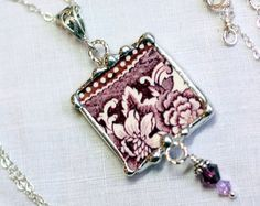 Broken China Jewelry, Pendant Necklace, Purple Transferware, Sterling Silver Chain