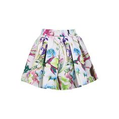 SheIn(sheinside) White Elastic Waist Floral Flare Skirt (22 CAD) ❤ liked on Polyvore