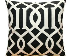 Decorative Pillow Cover- Richloom Sedro Black Cushion Cover- Choose Your Size- Hidden Zipper Closure- Black Throw Pillows- Trellis