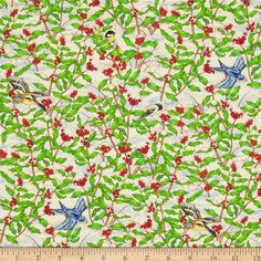 Nature's Expressions Birds & Holly Bushes Multi from @fabricdotcom  This cotton print is perfect for quilting, apparel and home decor accents.  Colors include white, black, green, red, tan, blue and yellow.