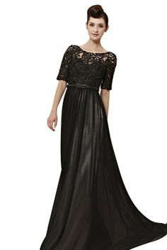 Amazon.com: Blansdi Women's Bateau Neck Long Ball Gown with Half Sleeve: Clothing
