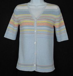 Sweater Norton Studio Multi Color Size M Cotton Short Sleeve V Neck Cardigan  #NortonStudioCardiganSweater