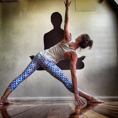 Wide legged trikonasana - a great way to create long lines of energy in all four limbs. Photo taken by @dharmabumsactive on Instagram. Enjoyed and repinned by yogapad.com.au