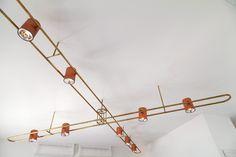 AXIS ceiling light design: eleftherios ambatzis materials: bronze & copper Ceiling Light Design, Lighting Design, Ceiling Lights, Objects, Chandelier, Copper, Bronze, Home Decor, Light Design