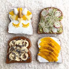 Happy Toast T̶u̶e̶...Thursday! 😍 Here comes four vibrant and delicious toast ideas with recipes. 🦄  1. UNICORN Yogurt of choice, flower shaped pieces of mango and apple, ears, horn and eyes made with sugar mass  2. AVOCADO-SPROUT 1/2 avocado, 2 radishes, sprouts of choice  3. PB-BANANA-CHOCOLATE Peanut butter, banana slices, chocolate curls or crumbs  4. YOGURT-MANGO Yogurt of choice, mango slices, chia seeds  Which you'd pick first? 😍 -O Toast Ideas, Chocolate Curls, Banana Slice, Flower Shape, Chocolate Peanut Butter, Chia Seeds, Pick One, Horn
