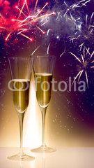 Silvester, Feuerwerk, Partytime, Sektgläser, Champagner
