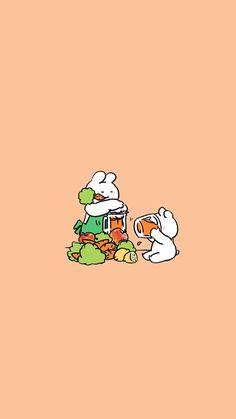 Over Action Rabbit Cute Food Wallpaper, Rabbit Wallpaper, Wallpaper Shelves, Bear Wallpaper, Kawaii Wallpaper, Cute Wallpaper Backgrounds, Tumblr Wallpaper, Wallpaper Iphone Cute, Cute Cartoon Wallpapers