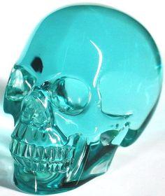 Ocean Blue Obsidian Carved Skull
