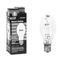 Philips 250-Watt ED28 Swtich Start Metal Halide High Intensity Discharge HID Light Bulb-140822-The 250 watt bulb is energy efficient , and long lasting. The light is a warm white light and is ideal for use in industrial and retail high/low bays and parking lots. The bulbs last at least 20,000 hours, and it produces a Brightness of 21,250 lumens.Estimated yearly energy cost: $30.11. Life hours: 9.1 years. Light appearance: 4000K (Warm White)