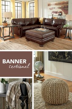 #AshleyFurniture #Sectionals - Get the versatility you want with the style you need! The rich chocolate color and traditional style of the Banner sectional work together to give you the premium look and quality you've been searching for! Ashley Furniture - Sectionals - Living Room Furniture