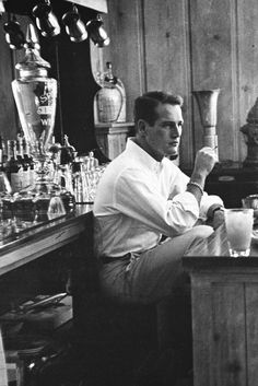 Paul Newman photographed at home, 1958.