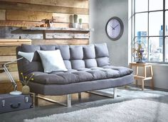 The Ohio 3-Seater Clic Clac Sofa Bed easily converts into a small double occasional sleeper with hidden integral support legs.