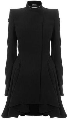 Black Crepe Circle-Drape Dress-Coat - Lyst