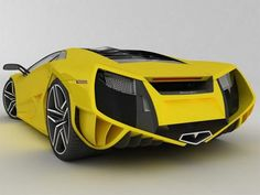 This is a Lamborghini Concept and it has a very outstanding rear end. It is kind of V-shaped and the mix between the colors black and ash mix well with the bright yellow and the curves of the car which has all curved ends.