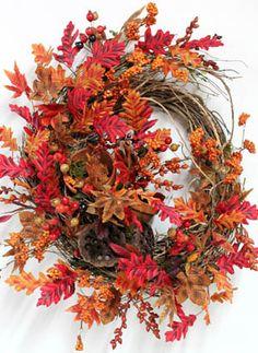 Two Clay Garden Pots, Fall Wreath