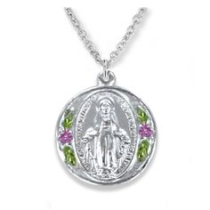 Sterling Silver Round Miraculous Medal with Enameled FlowersCatholic JewelryThis elegant medal of Our Lady features Mary of Grace, her hands open to give the blessings of God. All traditional symbolism and wording appears on the front and back, with lovely enamel painted flowers on the sides. Comes with 18 inch rhodium chain with clasp.Very petite, measures 0.5 inch diameter.Place into your cart or wish list above.