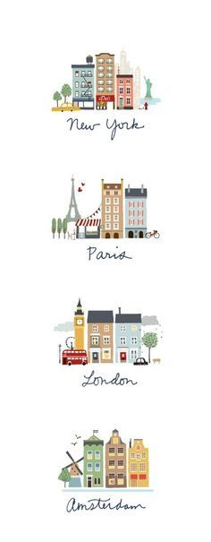 wanderlust quadros wanderlust doodles I like this idea for the cities we visited in Australia Travel Illustration, London Illustration, Digital Illustration, Building Illustration, Travel Posters, Graphic Design, Drawings, Prints, Stationery Paper