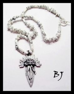 "This set features a unique and chic vintage, custom designed cast ""woven"" sunburst dagger pendant which beautifully blends with Howlite gemstones. The pendant drops from a simple silver bail which sit Gems Jewelry, Beaded Jewelry, Silver Jewelry, Custom Design, It Cast, Jewelry Making, Gemstones, Jewels, Beads"