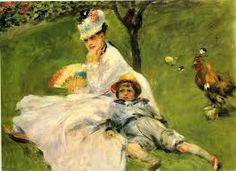 Pierre-Auguste Renoir Camille Monet And Her Son Jean, In The Garden At Argenteuil 1874