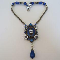 Vtg Neiger Bros Art Deco Czech Glass Lapis Enamel Flower Pendant Necklace | eBay