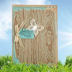 Wood effect with bow and butterfly embellishments from the Complete Textures Crafters Companion Range! Available to buy at Create and Craft - http://www.createandcraft.tv/papercraft/brand--crafters+companion.aspx?icn=Crafters_Companion&ici=Crafters_Companion_Papercraft_Brands