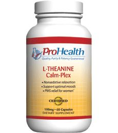 L-Theanine Calm-Plex with GABA and 5-HTP (Suntheanine) (L-Theanine Supplement). Synergistic Formula Enhances Mood & Well-being. Relaxes the brain without drowsiness. Maximum calming effects from brain-quieting GABA. Support for optimal mood levels from 5-HTP. Available at ProHealth.com ($17.49) #ProHealth