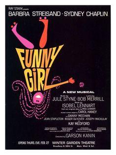 Vitage Theatre Poster - Funny Girl - Winter Garden Theatre - New York -  1960s