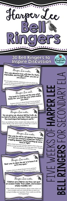 Begin each day of your To Kill a Mockingbird unit with these Harper Lee-inspired bell ringers. Each bell ringer includes a famous Harper Lee quote and a thought-provoking writing prompt.