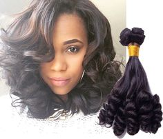 "3Bundles 10""12""14"" Black Human Hair Extension 50g/pc Lady Funmi Curly Wave Wefts #wigiss #HairExtension"