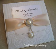 Luxury Damask Pearl & Diamante Wedding Invitation. Various colour options for satin ribbon. by QuillsWeddingFavours on Etsy