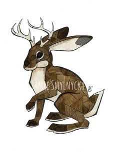 Irregular lines and geometric shapes make up this sassy jackalope. The artwork is a blend of traditional drawing with a dip pen and digital