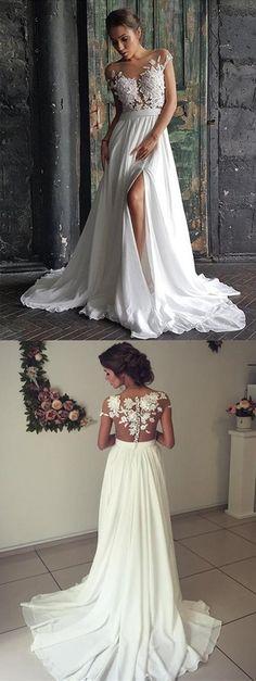 Gorgeous Lace Appliques Long Chiffon Wedding Beach Dress For Boho Bride