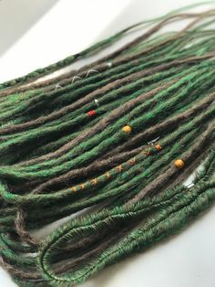 "Double ended synthetic dreads ""forest"" - Dreadlocks - You can find Dreadlocks and more on our website.Double ended synthetic dreads ""for. Faux Dreads, Synthetic Dreadlocks, Synthetic Hair, Double Ended Dreads, Dreads Styles, Magic Hair, Hair Strand, Green Hair, Green And Brown"